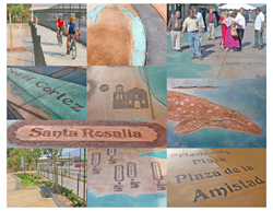 Photographic collage of design details highlighting graphic and decorative pavements, separated bikeway, furnishings, and landscaping.  Images in the decorate pavements use color and texture to portray images of local wildlife, history, and names of local places.