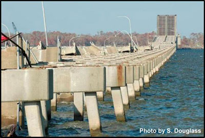 Figure 2.5. US Highway 90 bridge across Biloxi Bay, Mississippi, after Hurricane Katrina. (photo looking northeast from Biloxi 9/21/05).