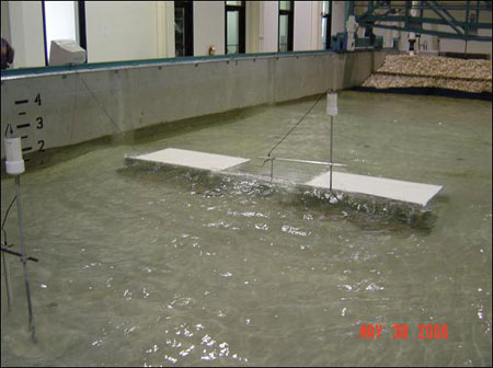 Figure 5.23. Physical model test of wave loads on bridge decks (Texas A&M photo).