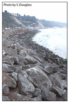 Figure 6.6. Seawall protecting a coastal highway (Pacific Coast Highway, Pacific Palisades, California).