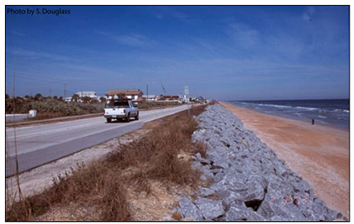 Figure 6.7. Seawall protecting a coastal highway (Florida Highway A1A, Flagler Beach).