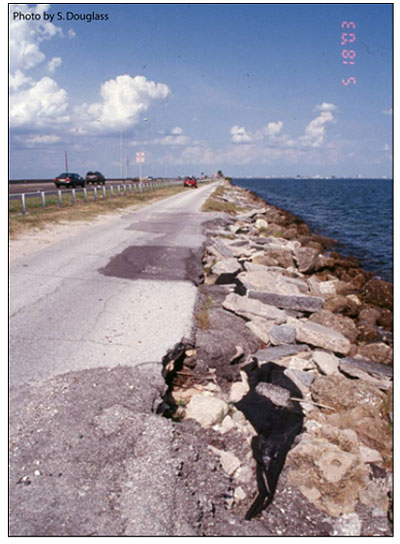 Figure 6.9. Revetment protecting a highway along a bay shoreline (Florida Highway 60, Tampa Bay).