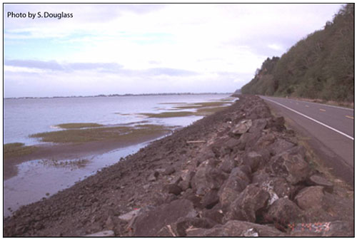 Figure 6.10. Revetment protecting a highway along a bay shoreline (Washington State Route 105, Willapa Bay).
