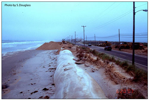 Figure 7.3. A local road threatened by long-term shoreline recession. Ocean Drive, Whale Beach area of Cape May County Road 619, Ludlam Island, New Jersey (2003)