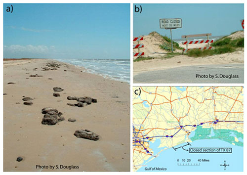 Figure 7.5. Road destroyed by shoreline recession: a) broken pavement on the beach at the old location; b) south end of the closed section; c) location map. Texas Highway 87, Jefferson County, 2002