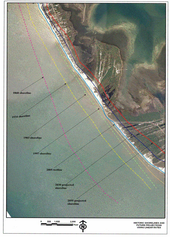 Figure 7.9. Example of projected future shoreline positions at Stump Hole (FDOT figure)