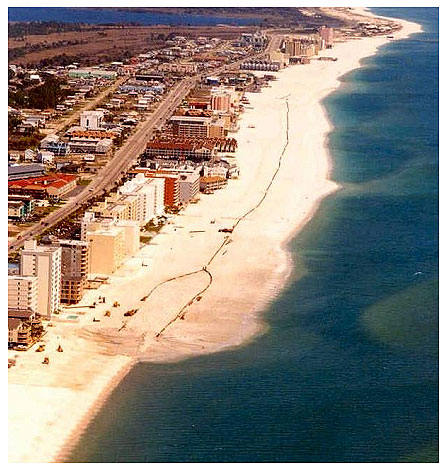 Figure 7.15. A beach nourishment project under construction (Gulf Shores, Alabama, 2001)