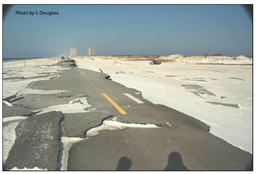 Figure 8.3. Example of pavement damaged by Hurricane Ivan. (photo looking west on Florida 399, J. Earle Bowden Way, Gulf Islands National Seashore, September 2005)