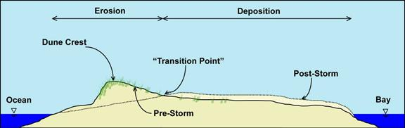 Figure 8.16. Schematic of sand erosion and deposition on a barrier island resulting from overwash.