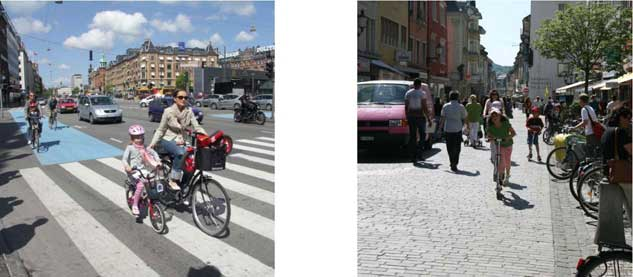 Cover Photos: Left - Lady and her child riding bicycles through a crosswalk; Right - Pedestrians and Bicyclists sharing city street with cars.