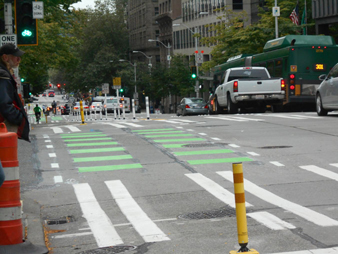 Image of Seattle's first downtown protected bike lane on Second Avenue between Pike Street and Yesler Way.