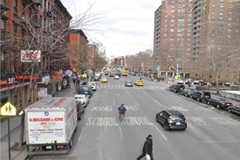 Before and after images of a Complete Streets retrofit that has improved safety outcomes along 1st Avenue in New York City. The before image shows a busy commercial area five-lane one way street in a school zone with on-street parallel parking on both sides and no bicycle lanes or painted crosswalks.