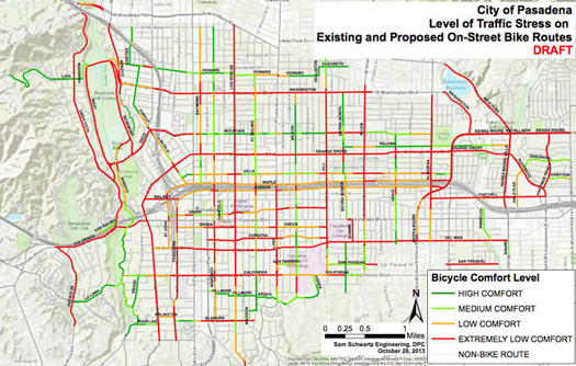 City of Pasedena Traffic stress map.