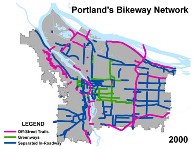 A second map shows mileage of built bikeways in 2011 at 303 miles.