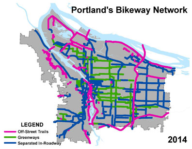 A third map shows future funded bikeway mileage at 341 miles.