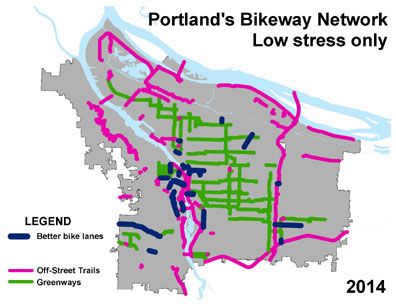 The fourth map shows mileage of built bikeways in planning at 430 miles.