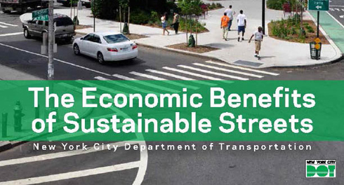 Graphic of the cover page of a publication entitled 'The Economic Benefits of Sustainable Streets'