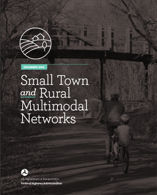 Publication cover showing bicyclists riding along a shared use path.