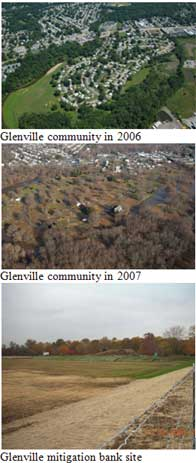 Before and After photos of the Glenville community and bank mitigation project.
