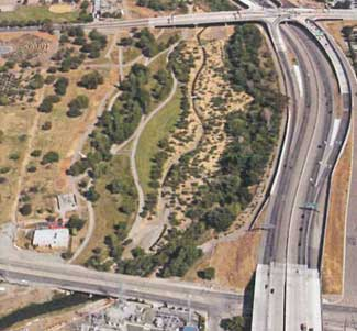 Aerial photo of trail network adjacent to roadway