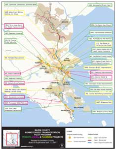 Map of NTPP projects completed in Marin County