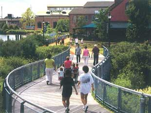 People walking along riverfron walkway