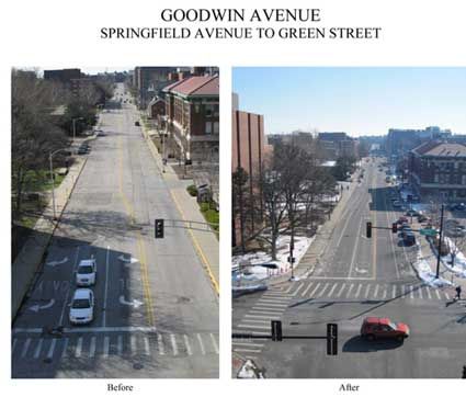 Before and After photos of Intersection improvements