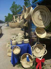 Photo of baskets on display at a road side stand