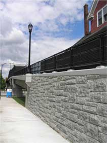 Close up Photo of rock face of pedestrian bridge