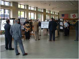 Photo of people participating in a poster session