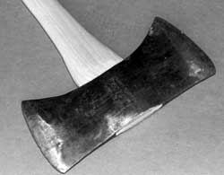 Photo shows a finished mounted wedge on a handle.