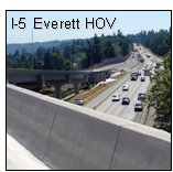 "Six photos of transportation infrastructure that represent ""adding capacity strategically"" include the Columbia River Crossing, 520 Bridge Replacement, and I-5 Everett HOV. . Photo of I-5 Everett HOV from an overpass"