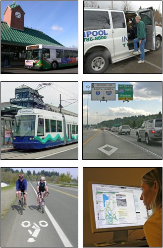 "Six photos represent the ""managing demand"" strategy. These photos include an image of two people on bicycles riding in a designated bike lane, a rider entering a van that has a sign on the side saying ""vanpool,"" and a transit bus."