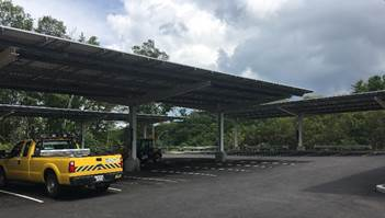 MassDOT installed a solar canopy in the parking lot of its training and resarch facility in Southborough.