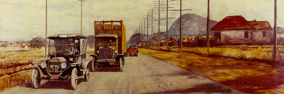 painting of old cars