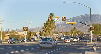 Shown here is a pedestrian hybrid beacon in Tucson, AZ.