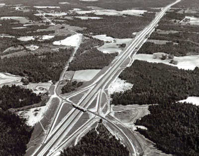 The 13-mile, $3.8 million section of Interstate Route 65 in Escambia County, Ala., is part of the route from Mobile to Montgomery.  (Not yet open to traffic when this photograph was made.)