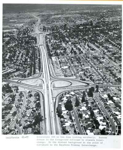California - Interstate 280 in San Jose looking northerly.  Bascom Avenue in the foreground followed by Alameda interchange.  In the distant background at the point of curvature is the Bayshore Freeway interchange.
