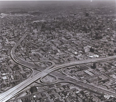 California - Interstate Route 10, the Santa Monica Freeway, meets the Harbor Freeway in Los Angeles at an interchange designed for extremely heavy traffic movements.