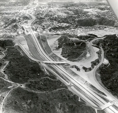 California - San Diego Freeway (I-405) - About 80,000 vehicles per day cross the Santa Monica Mountains on this freeway between San Fernando Valley and West Los Angeles.  The bridge in center of the picture is Mulholland Drive overcrossing.