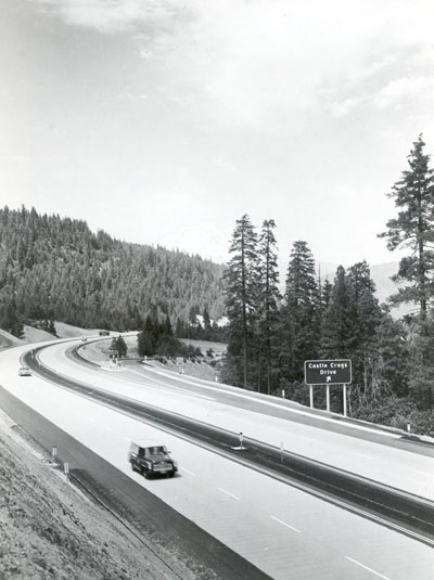 California - A four-lane divided freeway (I-5) together with frontage roads, ramps and connections graded and surfaced with concrete pavement on cement treated subgrade.