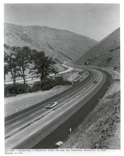 California - Grapevine Grade through the Tehachapi Mountains in Kern County on I-5.