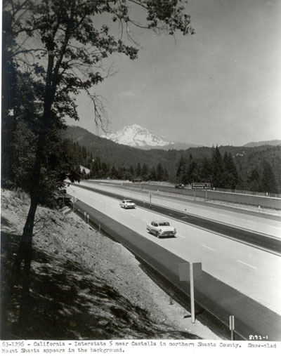 California - Interstate 5 near Castella in northern Shasta County.  Snow-clad Mount Shasta appears in the background.
