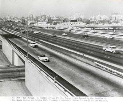 California - A section of the 23-mile freeway loop formed by the junction of the Santa Monica and Golden State Freeways (Interstate Routes 10 and 5) in Los Angeles.