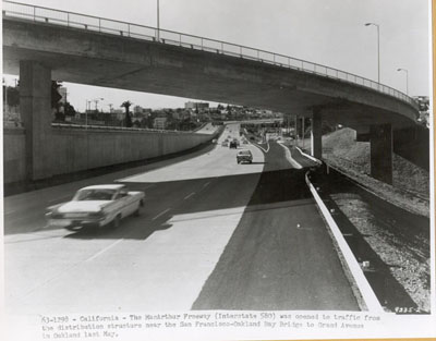 California - The MacArthur Freeway (Intestate 580) was opened to traffic from the distribution structure near the San Francisco-Oakland Bay Bridge to Grand Avenue in Oakland last May.  (1963 photo)