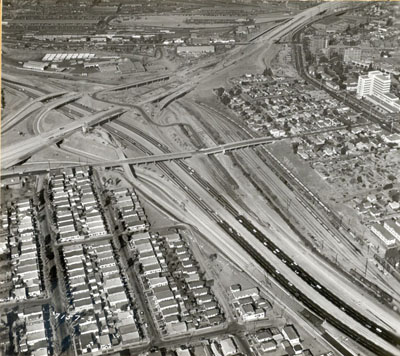 California - Golden State-San Bernardino Freeway interchange, with the State Street structure iin the center of the picture.  11/15/59