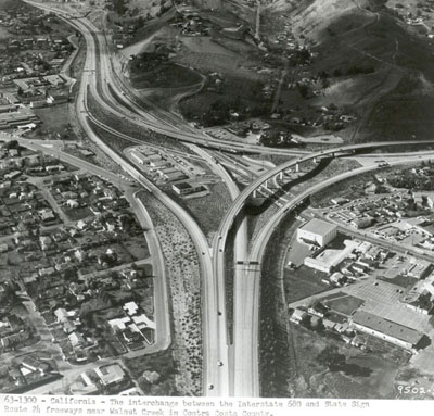 California - The interchange between the Interstate 680 and State Sign Route 24 freeways near Walnut Creek in Contra Costa County.