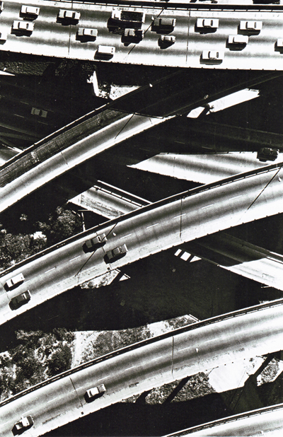 California- Interchange of Golden State Freeway (I-5) and Santa Monica Freeway, (I-10).