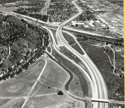 California - Looking northwesterly along Interstate Route 5 near the Los Angeles River Bridge. May 12, 1959.