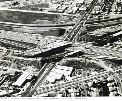 California - Los Angeles County.  I-405 Interchange, Culver City,  looking south.
